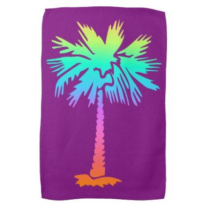 neon palm tropical summer bright colorful purple hand towel