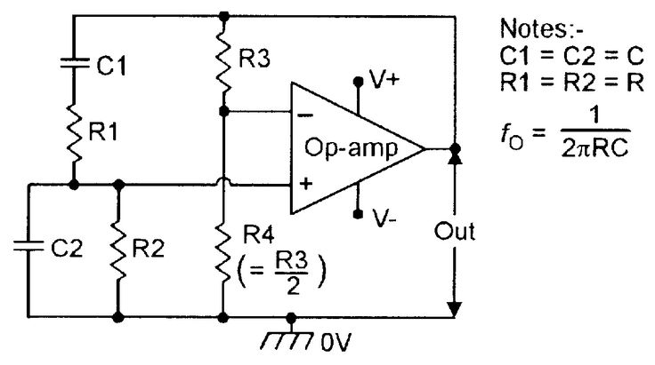 OP-AMP COOKBOOK — Basic Wien Bridge sinewave oscillator.