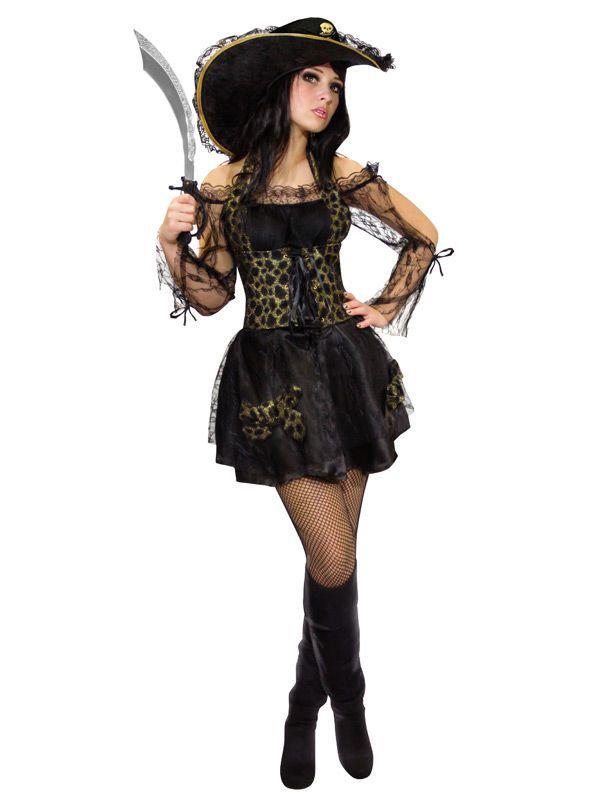 Piratin Damenkostüm Freibeuterin schwarz-gold, aus unserer Kategorie Piratenkostüme. Der ganze Pazifik erzittert vor dieser Piratenlady und ihrer tollkühnen Mannschaft. Kein Manöver erscheint ihr zu riskant, um den Inhalt ihrer Schatzkammer zu vermehren. Ein heißes Kostüm für Fasching und Piraten Mottopartys. #Karneval