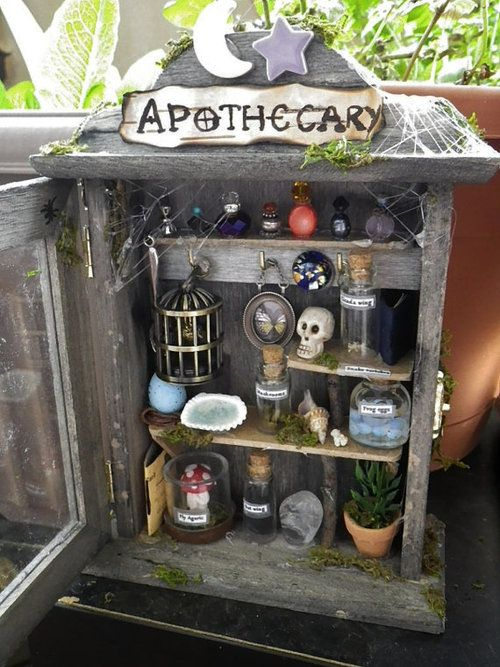 Fairy Apothecary. I could do this with a cupboard we have in storage...