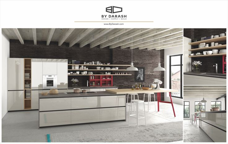 A modern sleek kitchen design enhanced with lustrous spacious white cabinets. Sold @bydarash