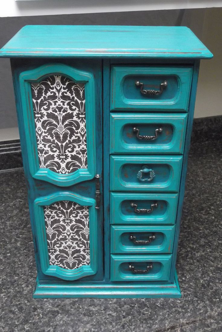 Huge Teal and Turquoise hand painted vintage wooden Jewelry Box