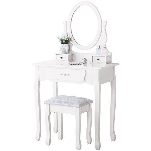 Mecor Vanity Makeup Table Set 3 Drawers Dressing Table with Stool ,White #Mecor #Vanity #Makeup #Table #Drawers #Dressing #with #Stool #,White