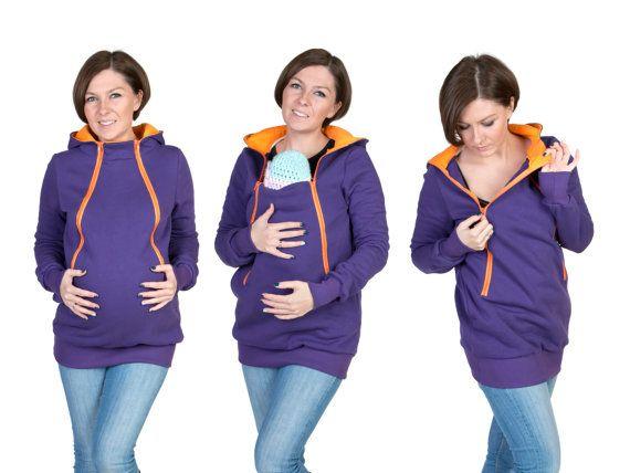 4 in 1 Maternity Pregnancy Sweatshirt Multifunctional Nursing Breastfeeding Kangaroo HOODIE/jumper for Moms and Baby VIOLET/ORANGE