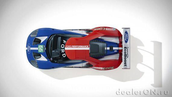 Суперкар Ford GT / Форд GT для Ле Ман - вид сверху