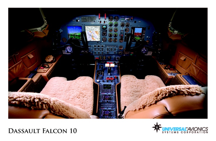 "Universal Avionics: Dassault Falcon 10 - (1) Display Suite: 3 EFI-890R 8.9"" Flat Panel Displays; (2) Situational Awareness: 1 Vision-1 Synthetic Vision System, 1 Application Server Unit (ASU) for Jeppesen charts, checklists, weather and E-DOCS; (3) Flight Management: 1 UNS-1L FMS with 5"" CDU; (4) Radio Tuning and Communications: 2 Radio Control Units (RCU)Radios Tunes, Panels Display, Display Suits, Flats Panels, Cockpit View, Dassault Falcons, Situation Awareness, Radios Control, Control United"