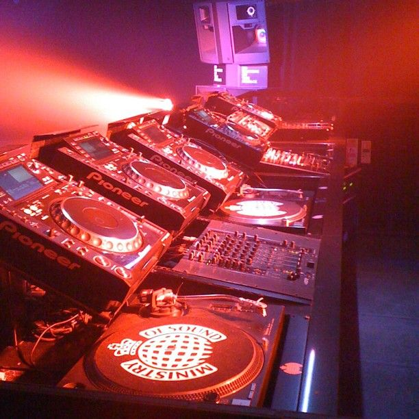 The DJ booth set up in The Box - photo by @xavnetpro (Xavier Andrew)