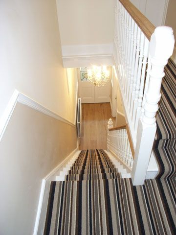 stair carpet | Contemporary designer striped stair carpet in a Victorian home ...