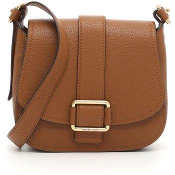 Geanta de umar Michael Kors Large Maxine Saddle Bag LUGGUAGE de culoare maro de dama