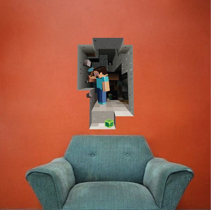 Minecraft Steve Cave 3D Wall Mural   Minecraft Decal   Video Game Wall  Decal Murals | Part 47