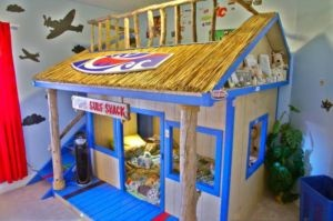My friend's husband made these beds for their sons - Surf Shack bunk beds. So awesome!