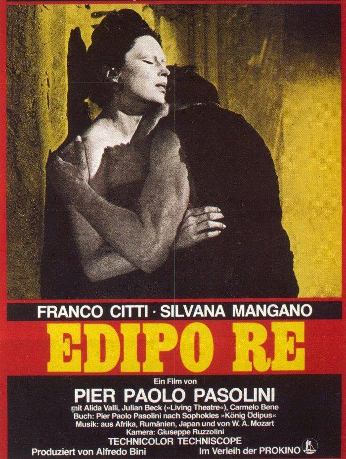 Edipo-Rey-de-Pier-Paolo-Pasolini Edipo Rey (1967), fue la primera cinta con guion ajeno, la famosa obra teatral de Sófocles, llevada al cine ese mismo año en una versión inglesa de menor repercusión comercial que ésta, que contaba entre su reparto con la maravillosa Silvana Mangano y uno de los actores favoritos del director, Laurent Terzieff.