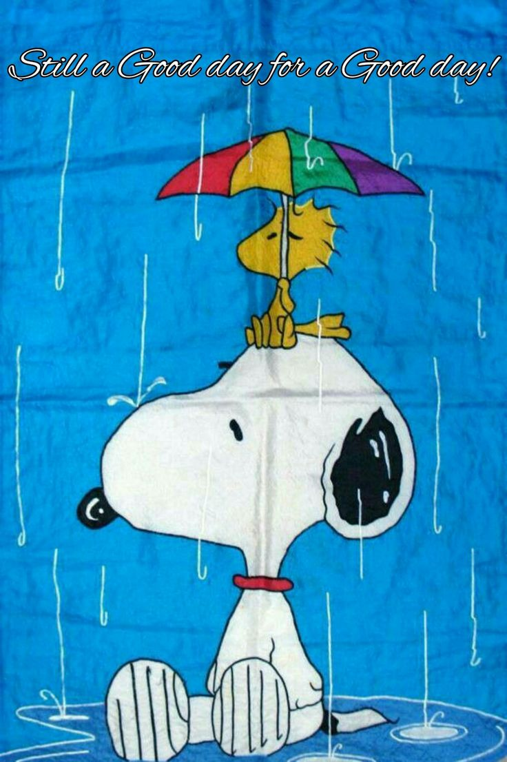 Snoopy and Woodstock with umbrella