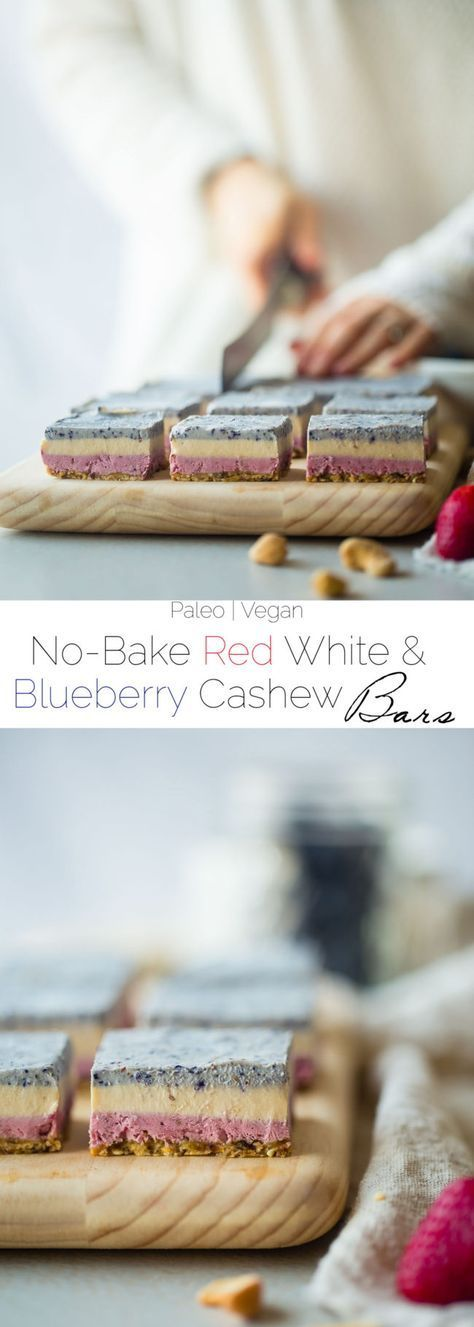 Vegan No Bake Red, White and Blueberry Cashew Cream Bars - These healthy bars are made of berry cashew cream, layered and then frozen! They're an easy, paleo and vegan friendly dessert for the fourth of July! | http://Foodfaithfitness.com | /FoodFaithFit/
