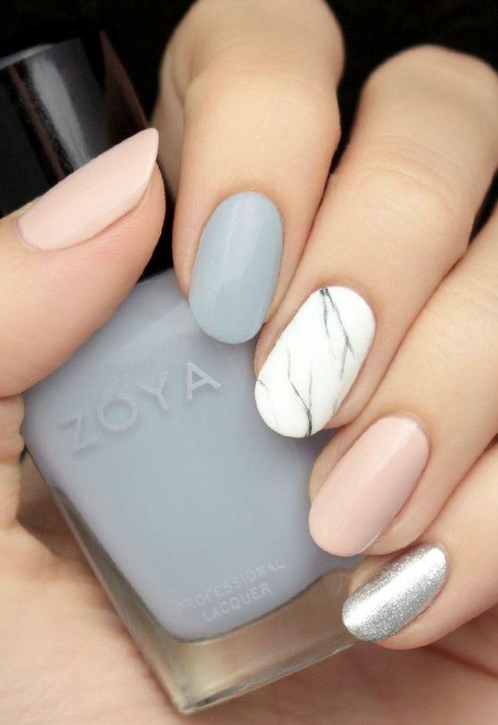 Grey, blush and marble effect nail art // PRÊTE Beauty Bible // Manicure // Zoya