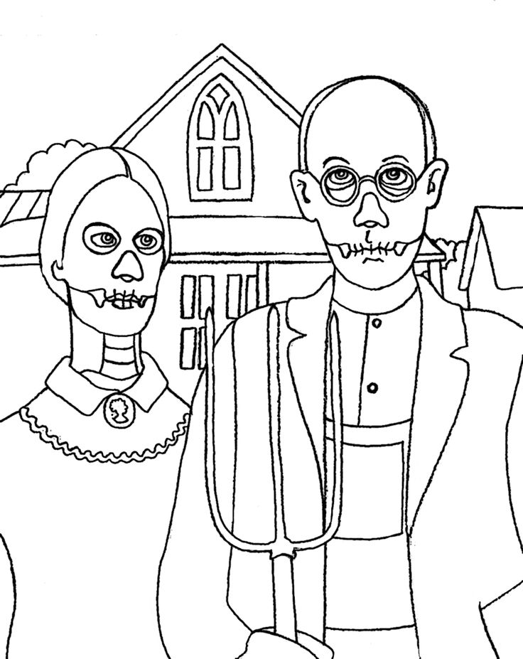 american gothic coloring page - 438 best ideas about colouring part un on pinterest