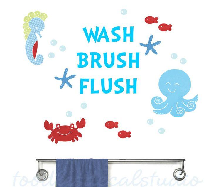Bathroom Kids Rules Reusable Fabric Decals - Sealife Bath Wall Stickers - Boys Bath Decor - Octopus Bathroom Decals - Brush Flush Wash by ToodlesDecalStudio on Etsy