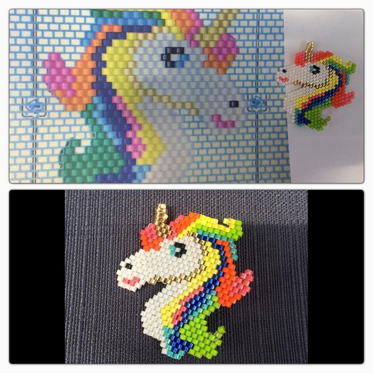 Pour ma nièce .. Broche licorne #jenfiledesperlesetjassume #perlemiyuki #perlesandco #licorne #rainbow #brickstitch #perleaddict #motifrose_linh #broches #miyukidelica #rose_linh #beading #tissage #tissageperles #brickstitch #unicorns
