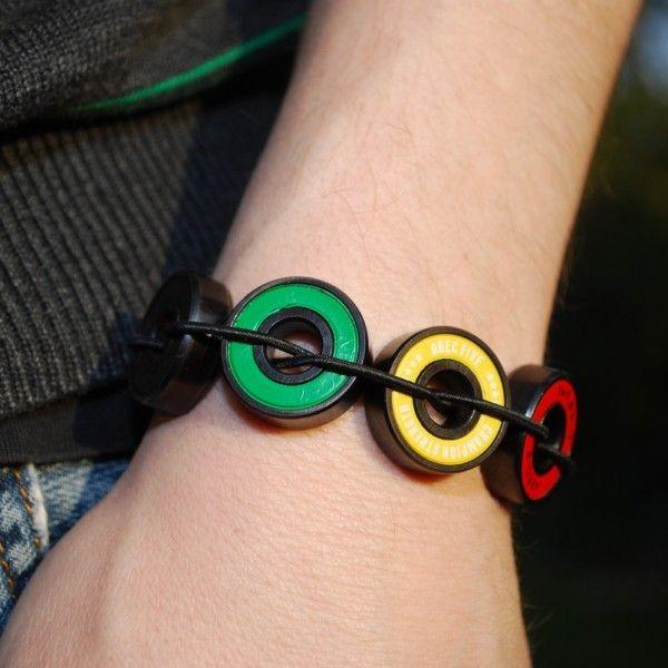 Rasta Bracelet made from repurposed skateboard bearings! Available on our site: https://everskate.com