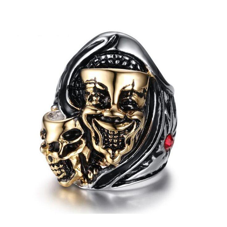 Two Faces Stainless Steel Ring Skull //Price: $9.99 & FREE Shipping //     #skull #skullinspiration #skullobsession #skulls