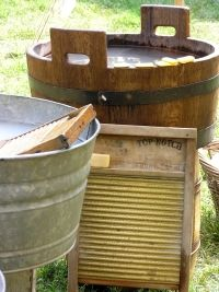 We had a washboard and metal tub to wash our clothes when we lived on the farm 1959-1966.