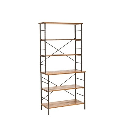 Safavieh Walnut Wood Finish 3 Tier Wood Freestanding Storage Shelving Rack Unit
