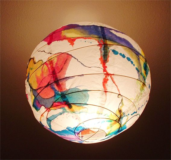 A simple Ikea lamp can become a precious object if you put part of yourself into it. Paper lamp hand painted with recycled printer ink.