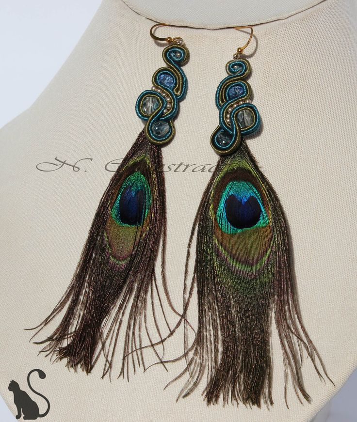 "5. Earrings ""1001 Nights"" Material: crystal beads, soutache, beads, feathers Pauline"