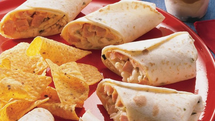 Hot Ham and Cheese Wraps | Loaded with ham, potato and cheese these wraps make a tasty movie night dinner. Have them ready in a jiffy with this 20-minute recipe.