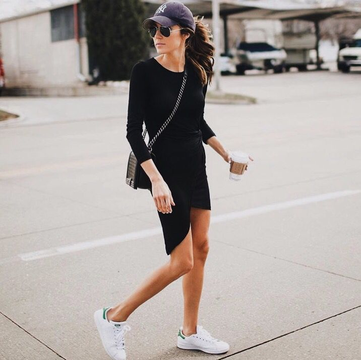 Street style, casual chic, black dress, white sneakers, hat