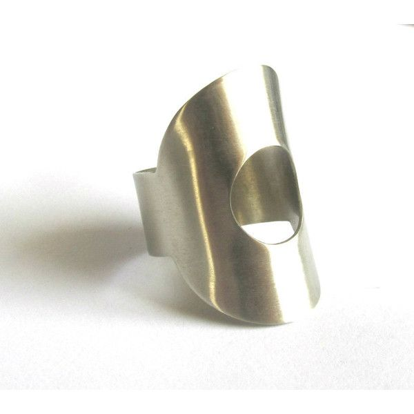 Cut Out Silver Ring Handcrafted Geometric Wide Band Hand Formed Open Cuff Adjustable Metalwork Handmade Greek Jewelry For Her (€19) found on Polyvore featuring women's fashion, jewelry, rings, cut out silver ring handcrafted geometric wide band hand, silver bracelet bangle, silver cuff bangle, silver bangles, silver rings and bangle bracelet