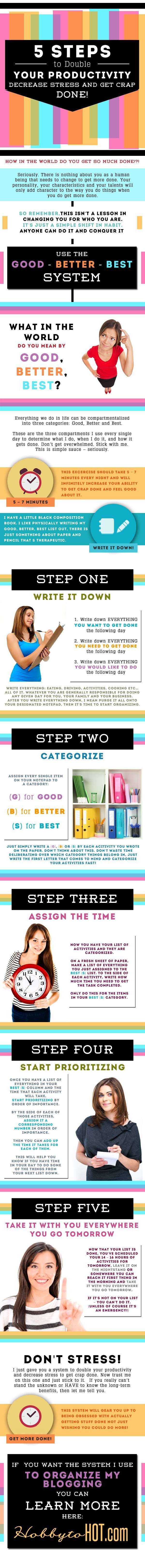 Infographic: 5 Steps to Double Your Productivity, Decrease Stress, and Get Crap Done! #infographic