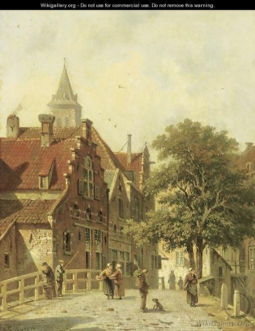 Figures on a bridge in a Dutch town - Adrianus Eversen
