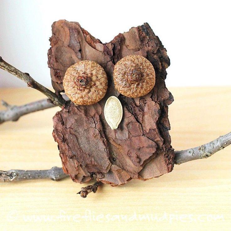 Eule aus Baumrinde mit Eichelkappen als Augen