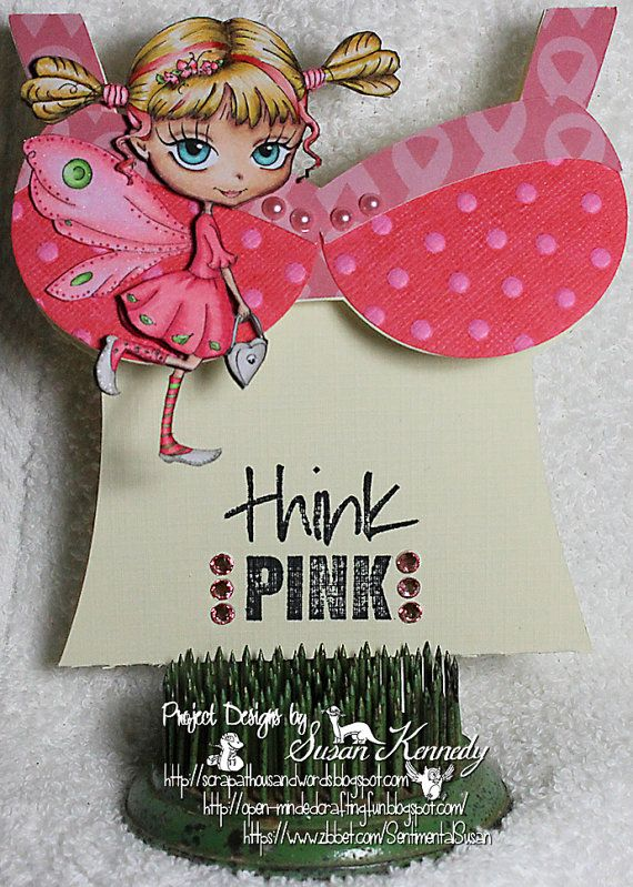 Unique OOAK One of A Kind Unusual Handmade Greeting Card - Hand Colored Think Pink Breast Cancer Awareness Bra Shaped Dimensional