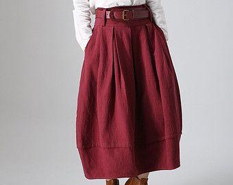 maxi skirt longred skirt wrap skirt custom skirt by xiaolizi