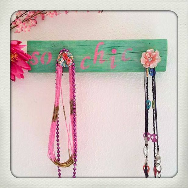 """Hand made wooden necklace hanger """"So chic"""" with 2 handles  20 e"""