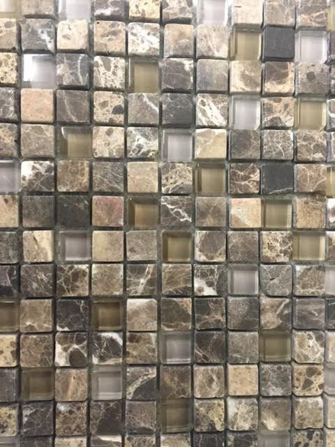 Dark emperador tumbled glass mosaic 5 8 x 5 8 free for Tumbled glass tile