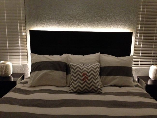 Creative diy projects with led rope lighting diy headboards unique and headboard lights - Backlit headboard ...
