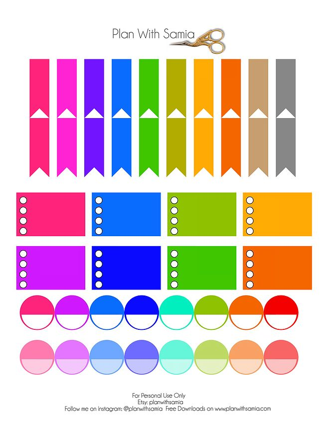 Plan with samia | Freebie Friday- Basic Rainbow Stickers