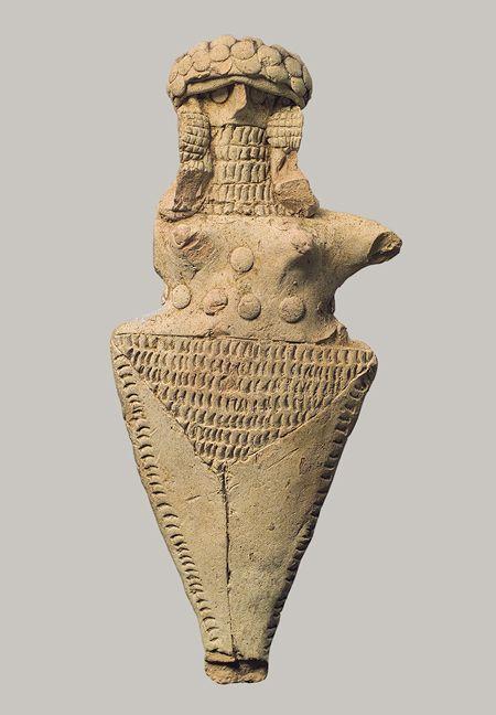 Personnage debout - Nippur, Mésopotamie (Irak)  Dynastie archaïque III  -2500- 2350 av. J.C. - Nippur a la particularité d'être localisée à la charnière entre la région où les Sumériens sont dominants, au sud, et celle où les Sémites (Akkadiens) sont majoritaires, au nord.