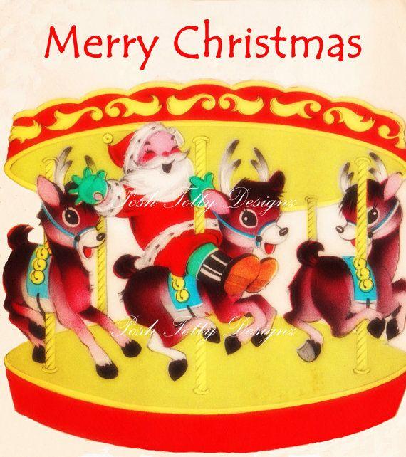 1950s Vintage Rudolf and Santa and Reindeer Carousel Merry Go Round Vintage Greetings Card Digital Download Printable Images (320). $2.95, via Etsy.