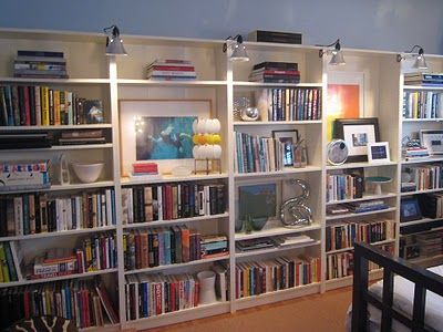 Ikea Billy Bookcases With Hardware Store Clamp On Lights