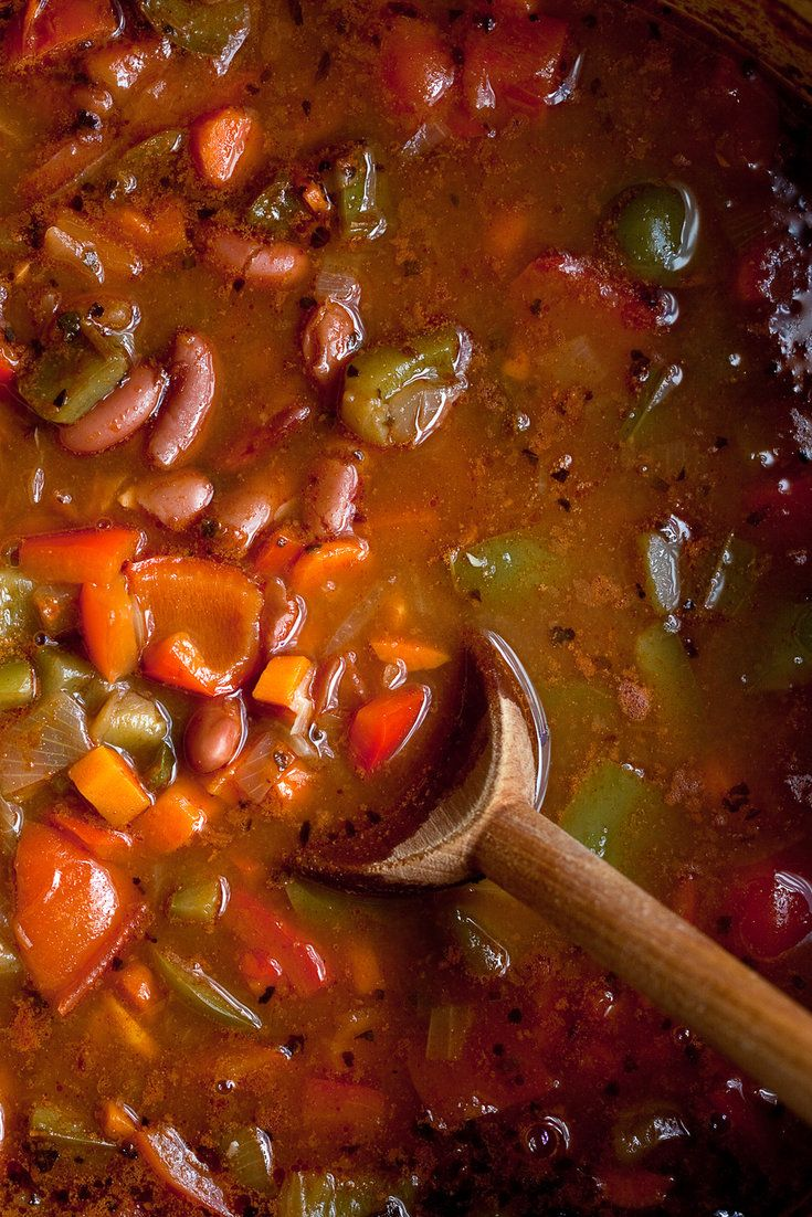Hungarian gulyas (goulash) is the inspiration here, but this one is a vegetable dish It has a deep, rich flavor redolent of paprika, garlic, lots of sweet peppers and onions I like to serve this with noodles, or over thick slices of country bread