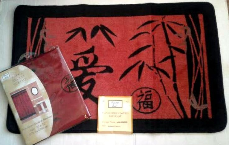 Asian Bamboo Oriental Fabric Shower Curtain & Hand Carved Bath Mat Set #PopularBath #Asian