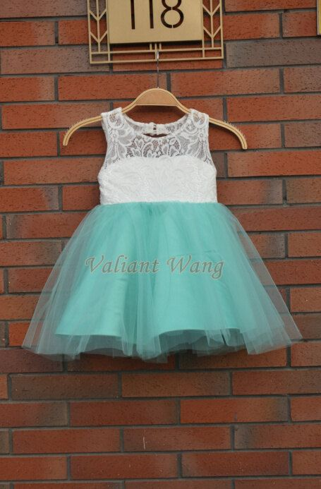 Lovely Ivory Lace Mint Green Tulle Flower Girl Dress Wedding Baby Girls Dress Rustic Baby Birthday Dress Knee Length