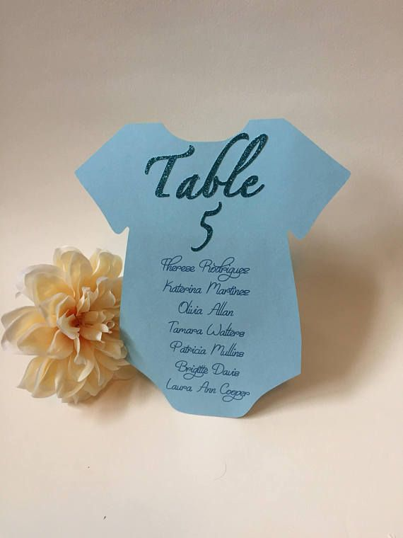 Baby Shower Seating Chart Place Cards Custom Table Numbers Onesie Card