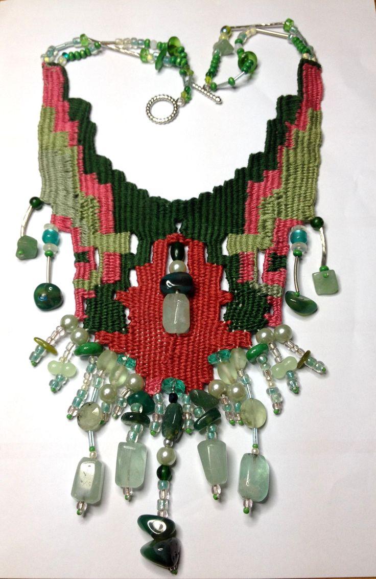 """'Corfu """"Needle weaving necklace."""