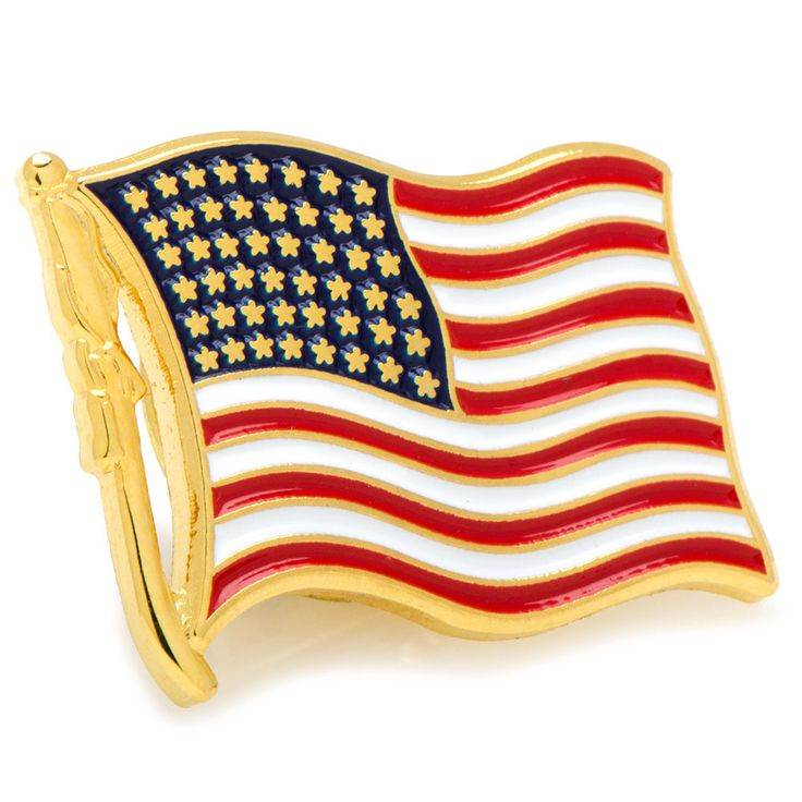 "Waving American Flag Lapel Pin, approximately 3/4"" in diameter. Clutch back closure. Plated base metal with enamel."
