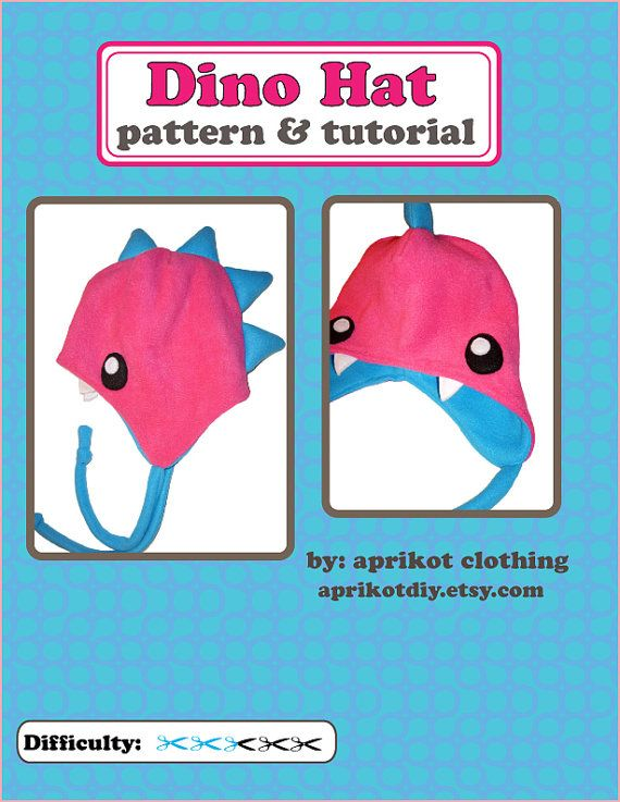 Fleece Dinosaur Earflap Hat PDF Pattern and van aprikotDIY op Etsy